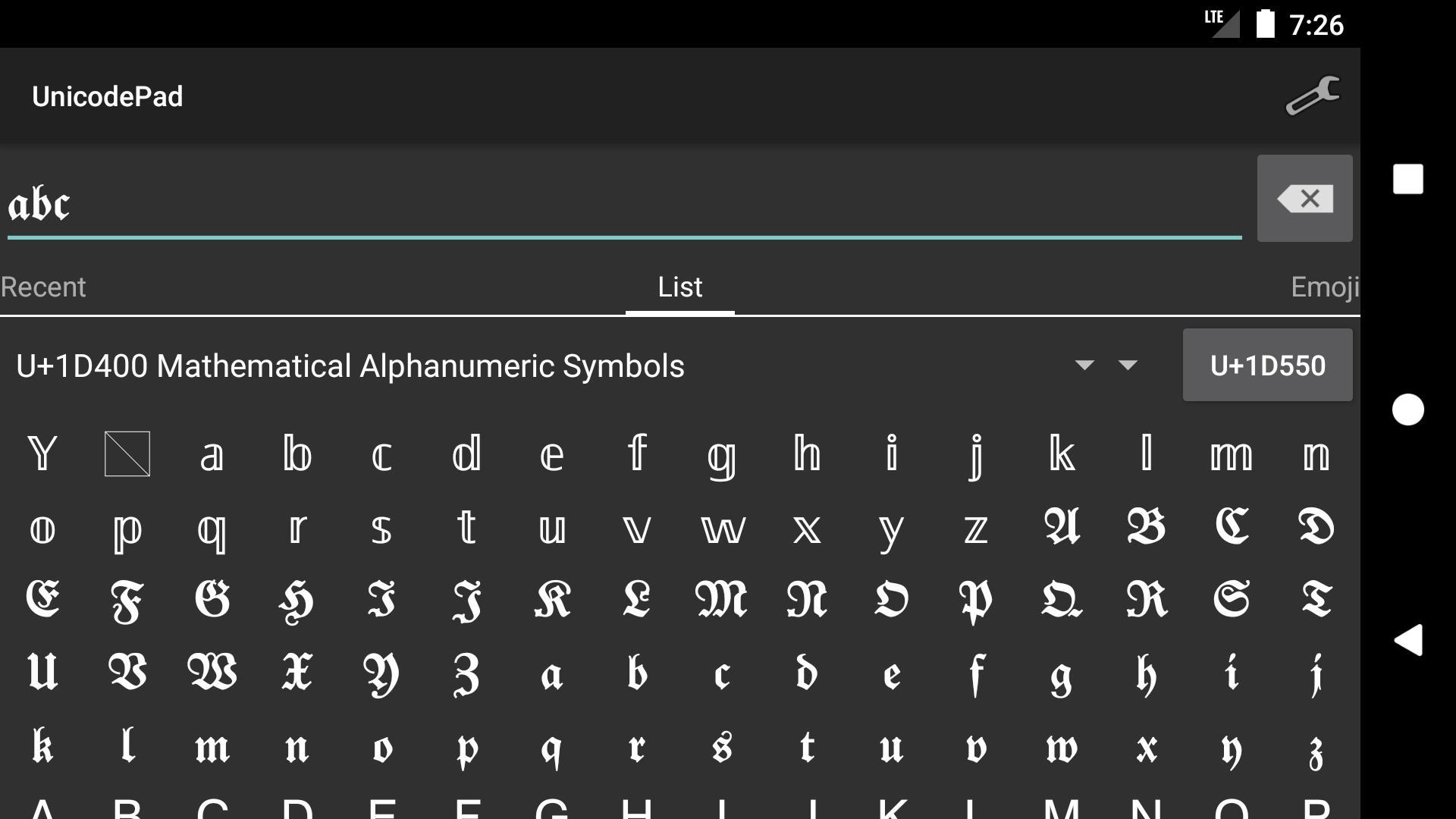 Unicode-Pad